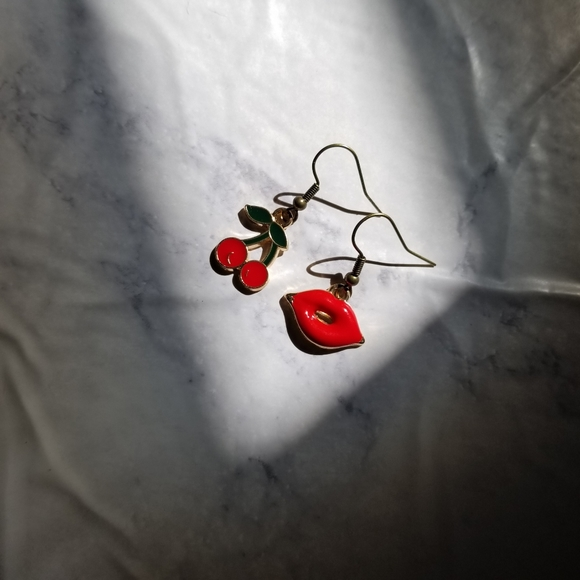 Hand Crafted Jewelry - CHERRY KISS | Enamel Earrings Stainless Steel